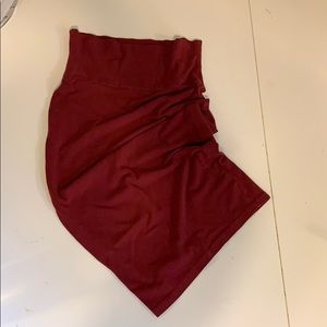 High waisted red bodycon skirt